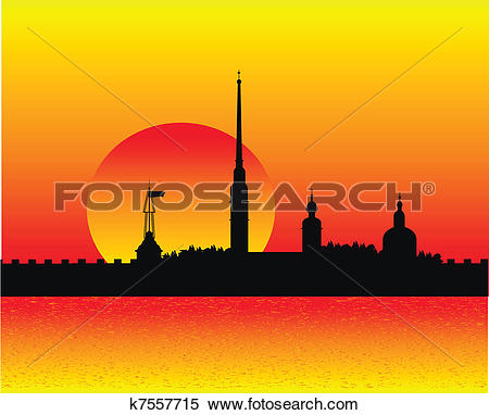 Clipart of Silhouette of Peter and Paul fortress at sunset.