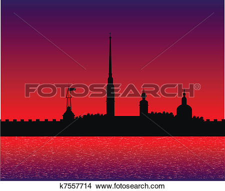 Clipart of Silhouette of Peter and Paul fortress after sunset.