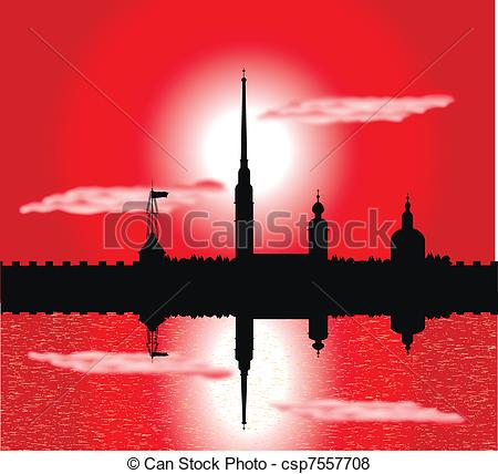 Vector of Silhouette of Peter and Paul fortress at sunset.