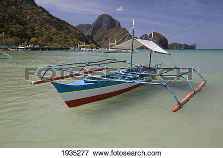Picture of Bangka Boats Sit In The Picturesque And Scenic Bay; El.