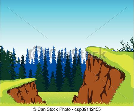 Clipart Vector of Picturesque year landscape.
