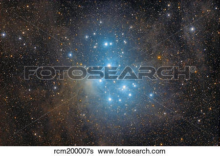 Stock Images of The Pleiades, an open star cluster in the.