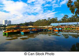 Stock Foto von Park, Fluß, nord, porzellan, Pavillon.