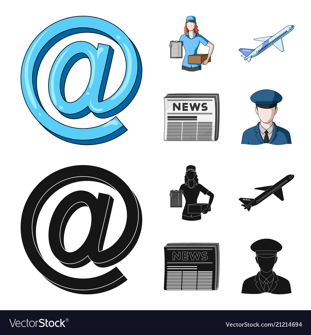 Email symbol courier with parcel postal airplane.
