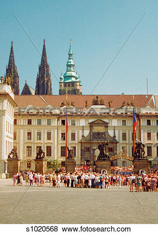 Pictures of Group of people standing in front of the Prague Castle.