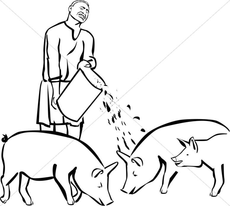 Prodigal Son Feeding Pigs Clipart.