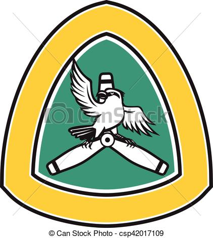 Vector Clipart of Shrike Perching Propeller Blade Crest Retro.