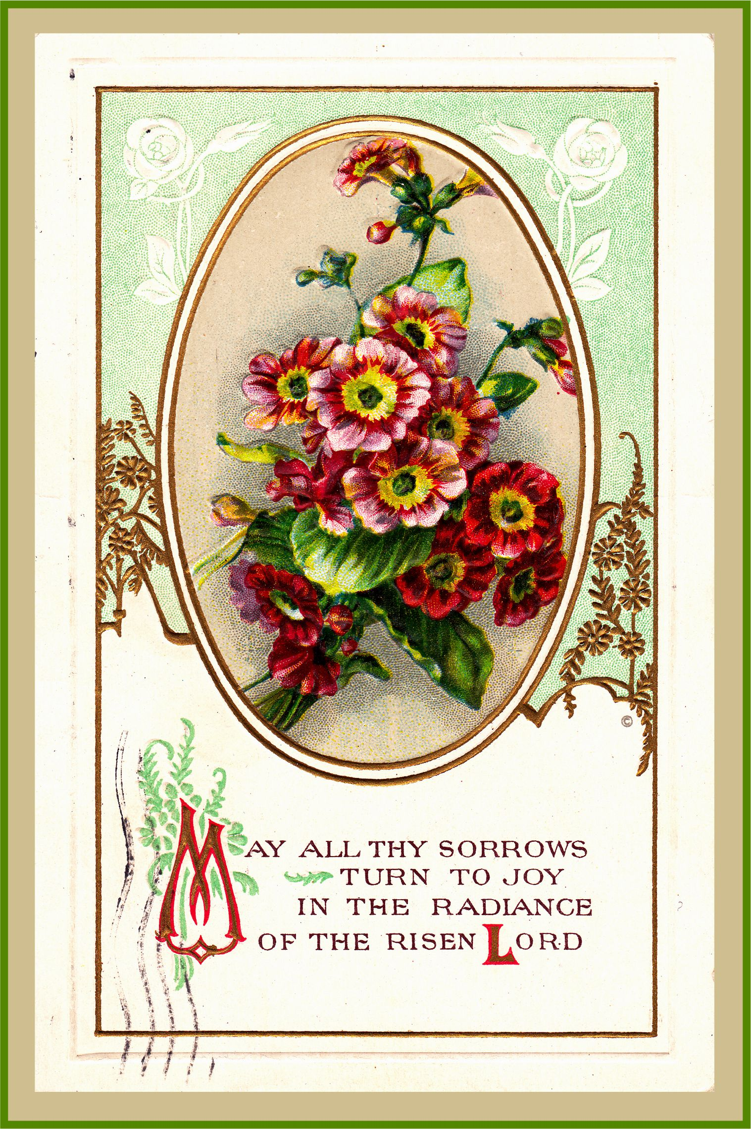 Vintage Easter postcard. the bells of Easter. Christian decorating.