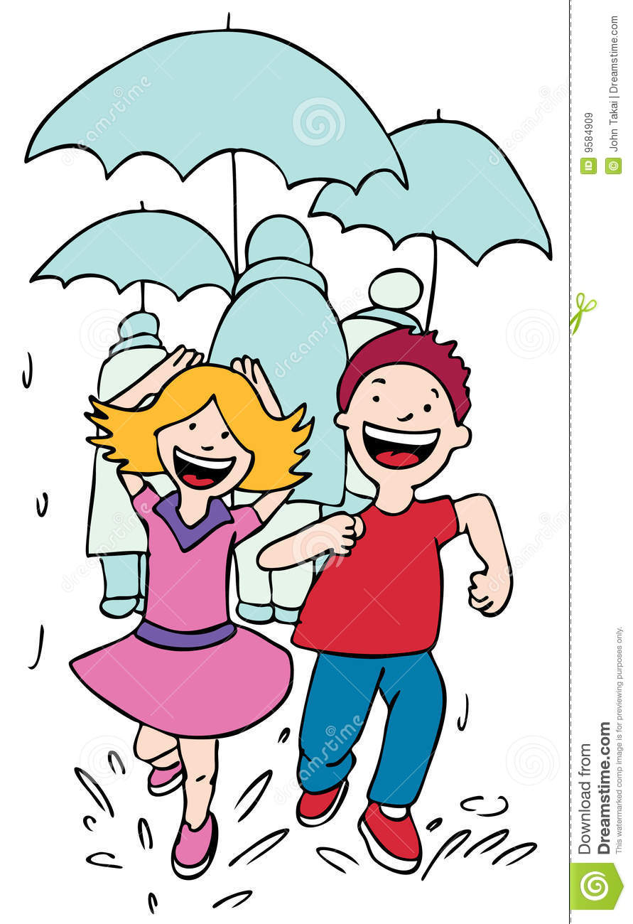 Running In The Rain Royalty Free Stock Images.