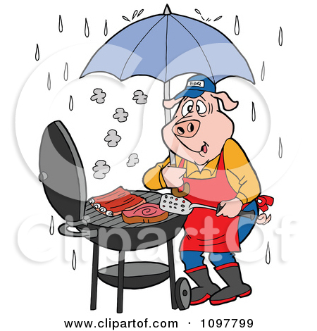 Clipart Chef Pig Barbequing With An Umbrella In The Rain.