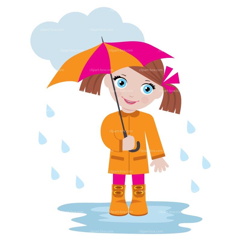 CLIPART GIRL UNDER THE RAIN.
