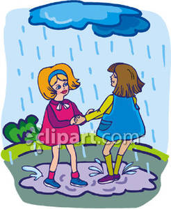 Playing In The Rain Clipart.