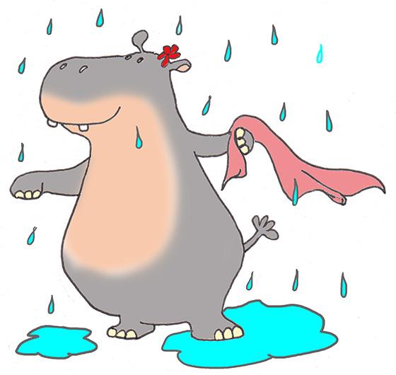 Swimming in the Rain Clip Art.