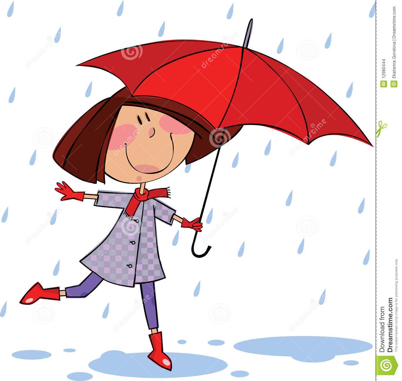 Clipart walking in the rain.