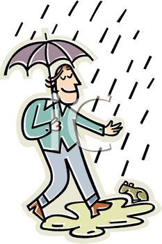Happy In The Rain Clipart.