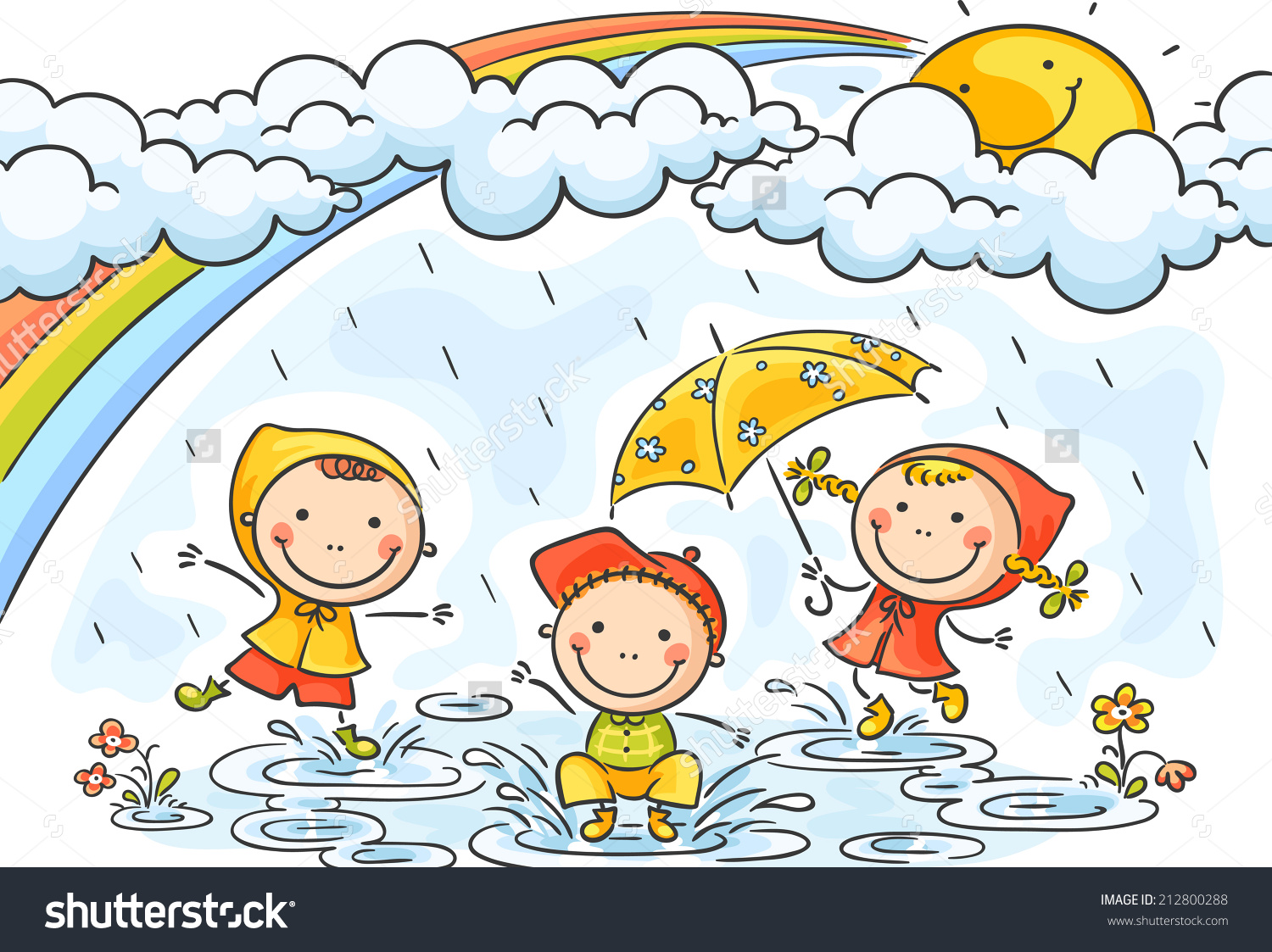 Kids Playing In The Rain Clipart.