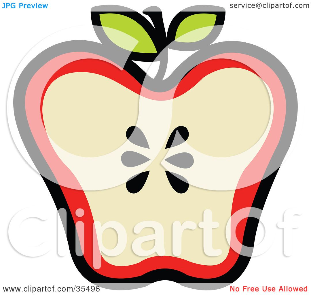 Clipart Illustration of a Halved Red Apple With Seeds In The.