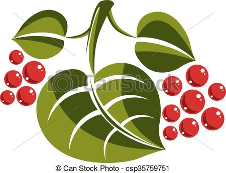 Clipart Vector of Simple green deciduous vector tree leaf with red.