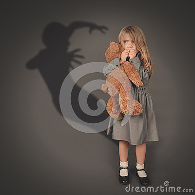 Horror Scary Little Girl Royalty Free Stock Photo.