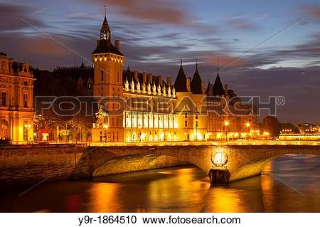 Stock Photography of Twilight over the Concierge and Pont au.