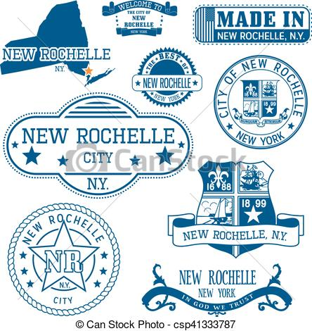Vector of New Rochelle, New York. Set of stamps and signs.