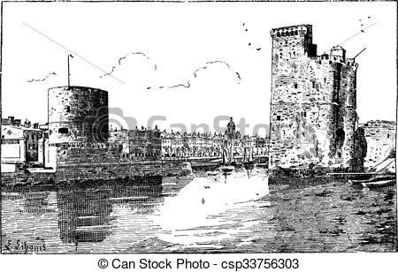 Vector Clipart of Port of La Rochelle, France, vintage engraving.