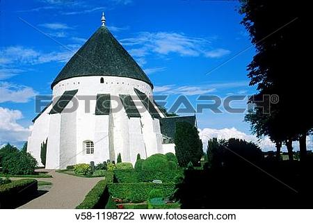 Stock Photo of Denmark, Bornholm Island, Osterlars round church.