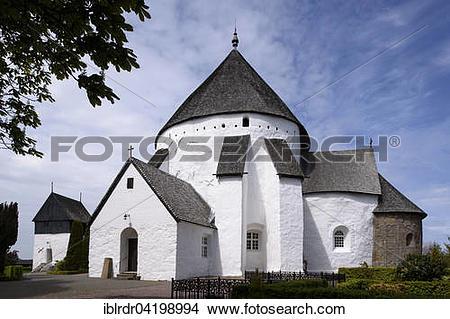 Stock Photo of Romanesque round church Osterlars Kirke on the.