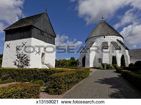 Stock Photography of Osterlars Church, round church, Gudhjem.