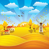 Clip Art of Autumn rural landscape k5996217.