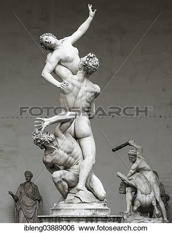 """Stock Images of """"Sculpture, The Rape of the Sabine Women."""