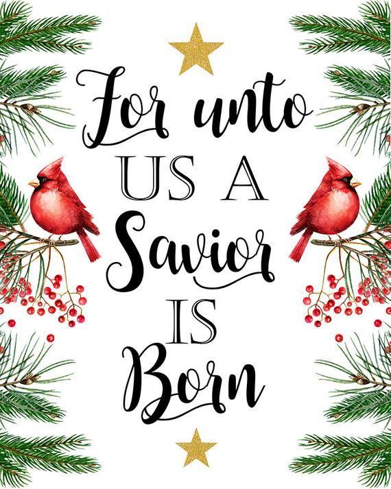 Unto us a Savior is Born Luke 2 11 Christian Christmas Art.