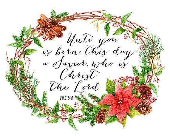Unto You a Savior is Born Luke 2 11 Christian Christmas Art.