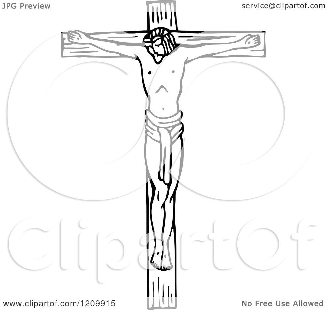 Clipart of a Black and White Scene of Jesus the Saviour on the.