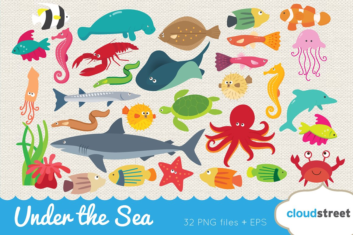 Under the sea clipart Photos, Graphics, Fonts, Themes, Templates.