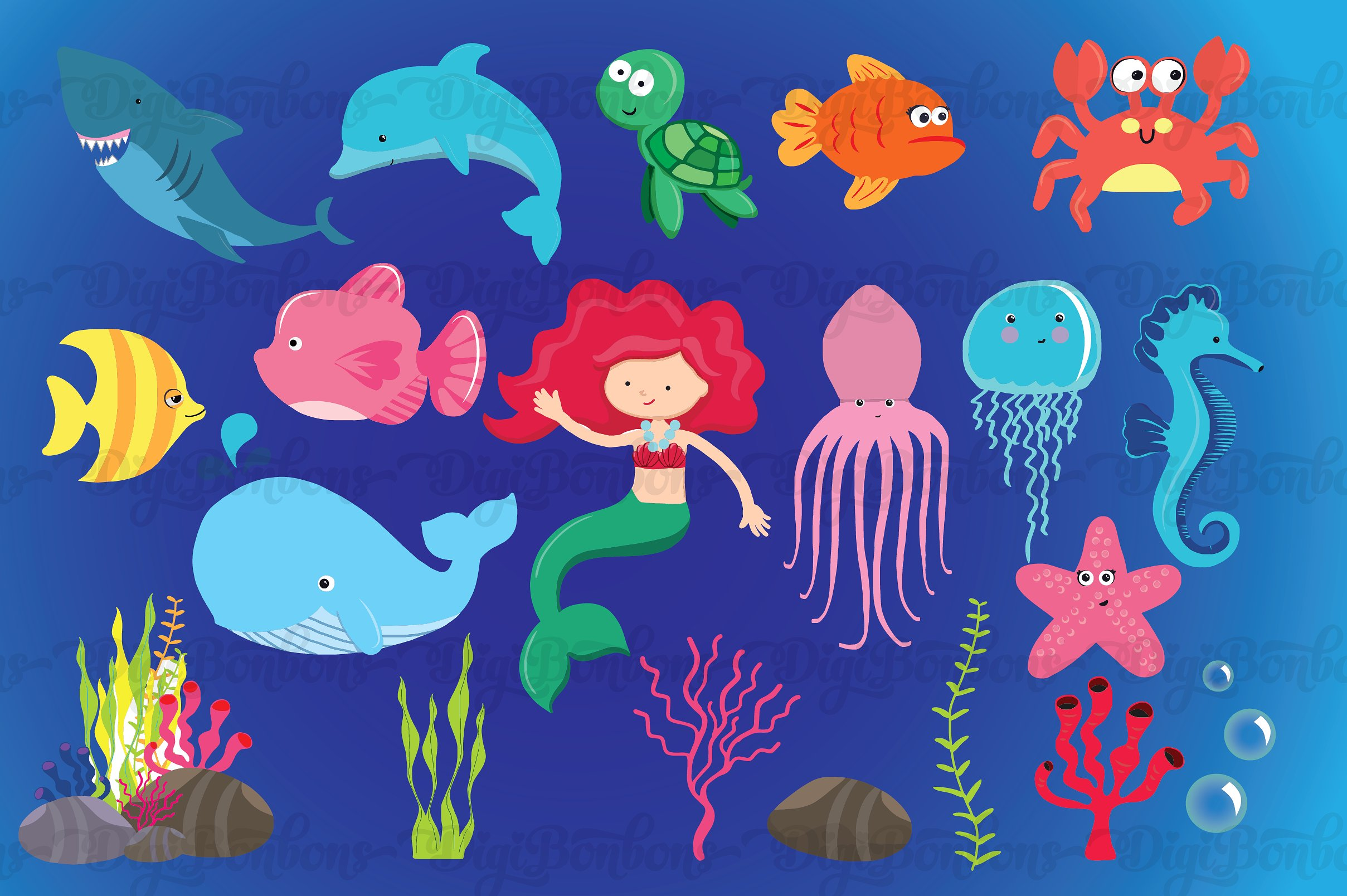 Under the Sea Clipart EPS Vectors ~ Illustrations on Creative Market.