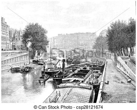 Stock Illustrations of Small arm of the Seine between the City and.