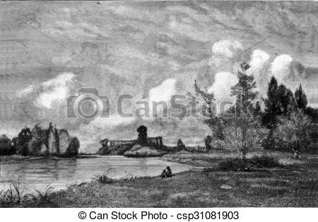 Stock Illustration of The Seine near Gravon, vintage engraving.