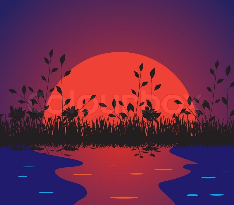 Nature against the setting sun. Vector illustration.