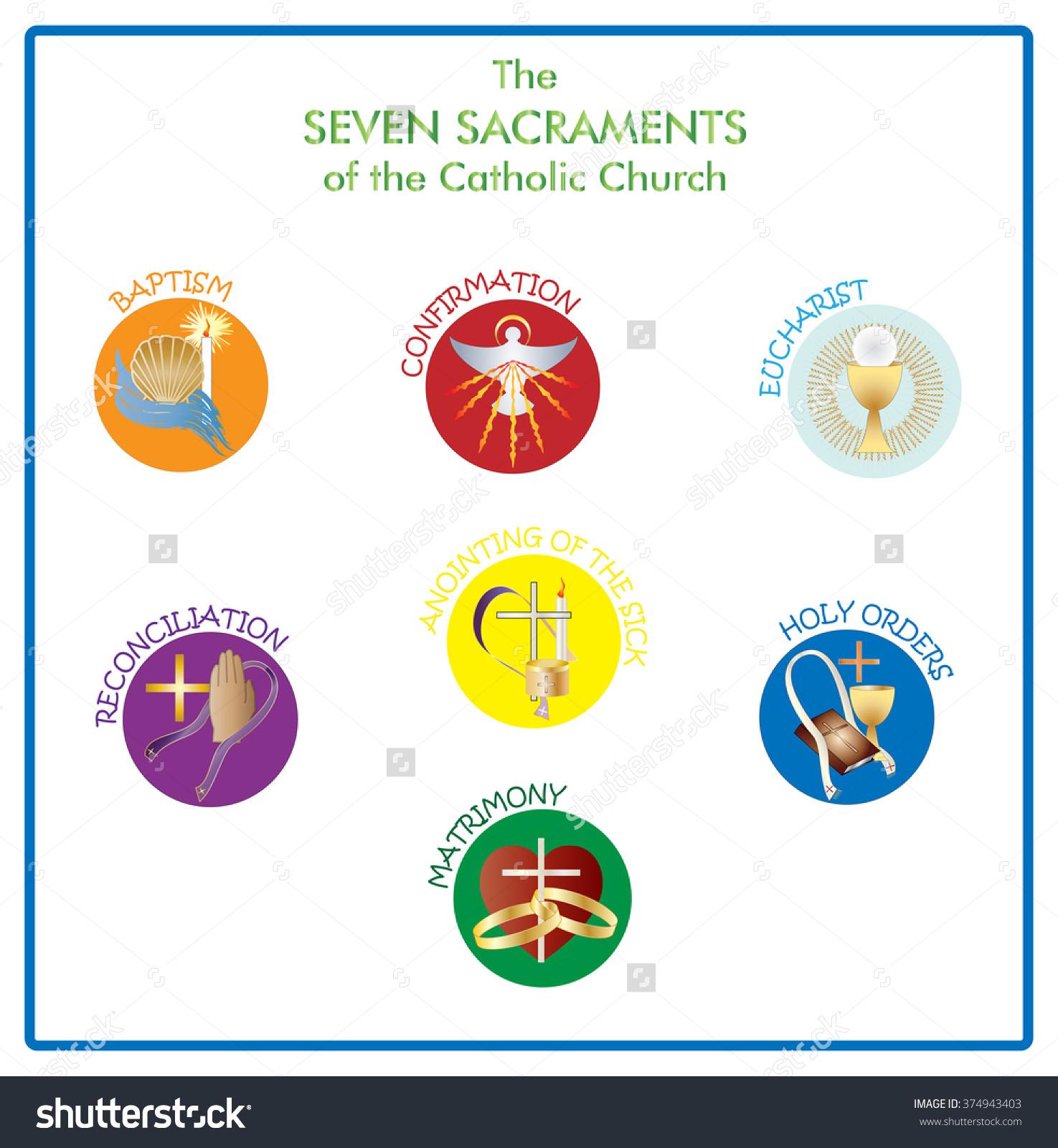 Symbols Seven Sacraments Catholic Church Color Stock Vector.