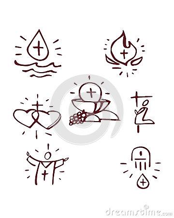 The Seven Sacraments Stock Illustration.