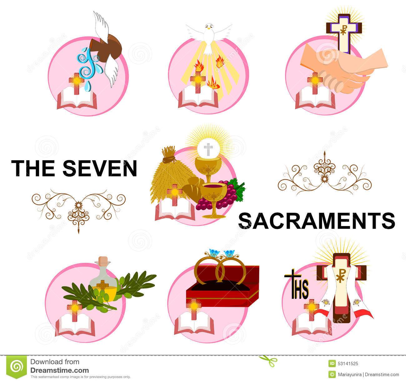 Seven sacraments clipart.