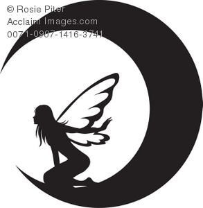 Clip Art Illustration Of The Silhouette Of A Fairy On The Moon.