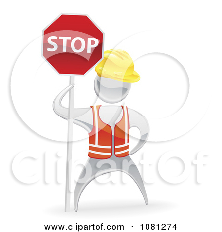 Clipart 3d Silver Road Construction Worker Holding A Stop Sign.