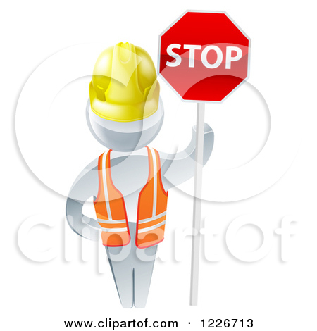 Clipart of a 3d Silver Road Construction Worker Man Holding a Stop.