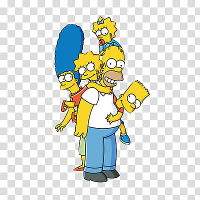 SIMPSONS, The Simpsons family illustration transparent.