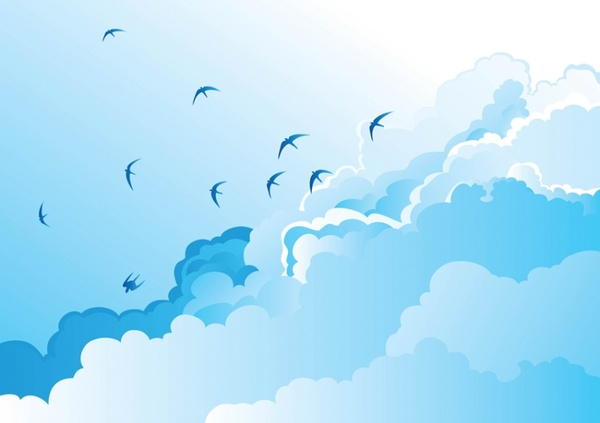 Birds Flying In The Sky Clipart.