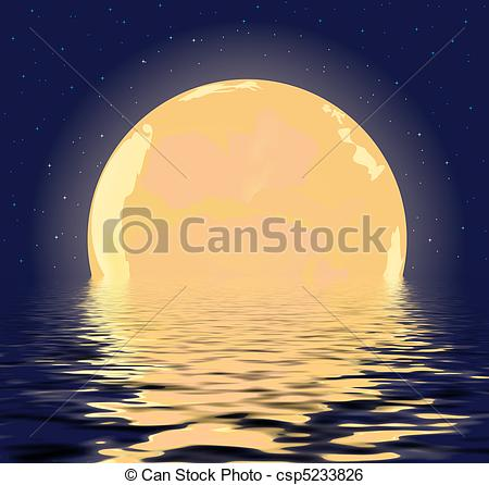 Stock Illustration of night Moon.