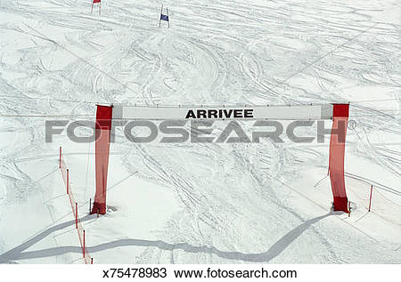Stock Photo of Finish gate on slalom course x75478983.