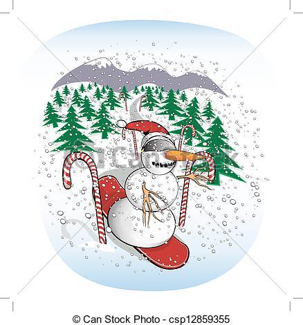 Clipart Vector of Slalom Snowboarding Snowman.